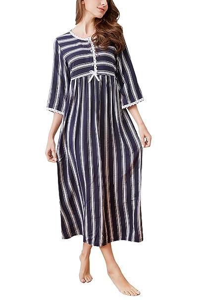 YAOMEI Largo Camisón para Mujer Camisones Algodón Pijamas, Lencería Spaghetti Strap Babydoll Rayas Neglige Lencería Ropa de Dormir: Amazon.es: Ropa y ...