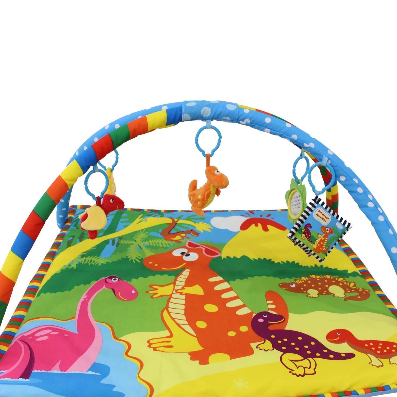 Todeco - Estera de Juego para Bebés, Alfombrilla de Juego para Bebés - Tamaño: 76 x 76 x 41 cm - Juguetes educativos: (2x) Dinosaurios de felpa (1x) ...