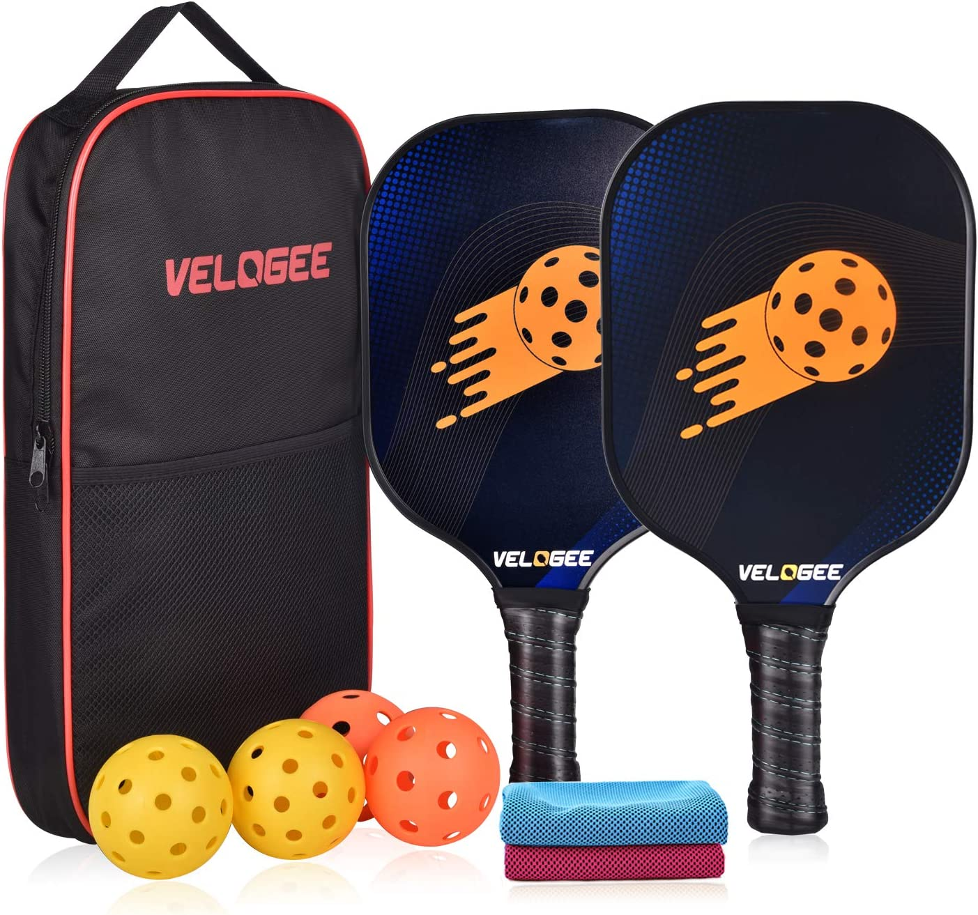 Velogee Graphite Pickleball Paddle Set of 2 Lightweight Rackets Honeycomb Composite Core, Ultra Cushion Comfort Grip Including Easy Carrying Portable Bag, 4 Balls & 2 Sports Cooling Towels