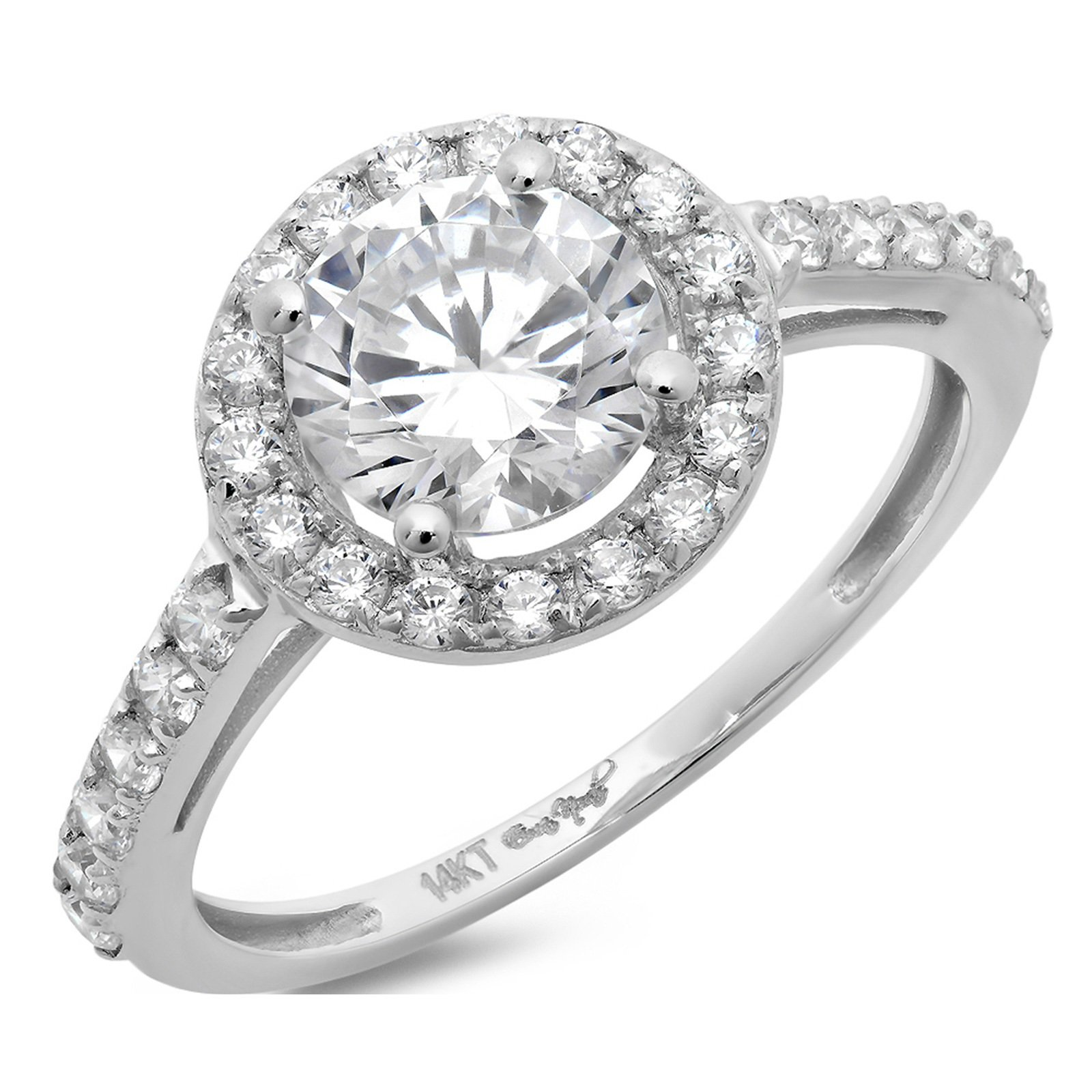 Clara Pucci 2.25 CT Round Cut Solitaire Pave Halo Bridal Band Engagement Ring 14k White Gold, Size 4.5 by Clara Pucci