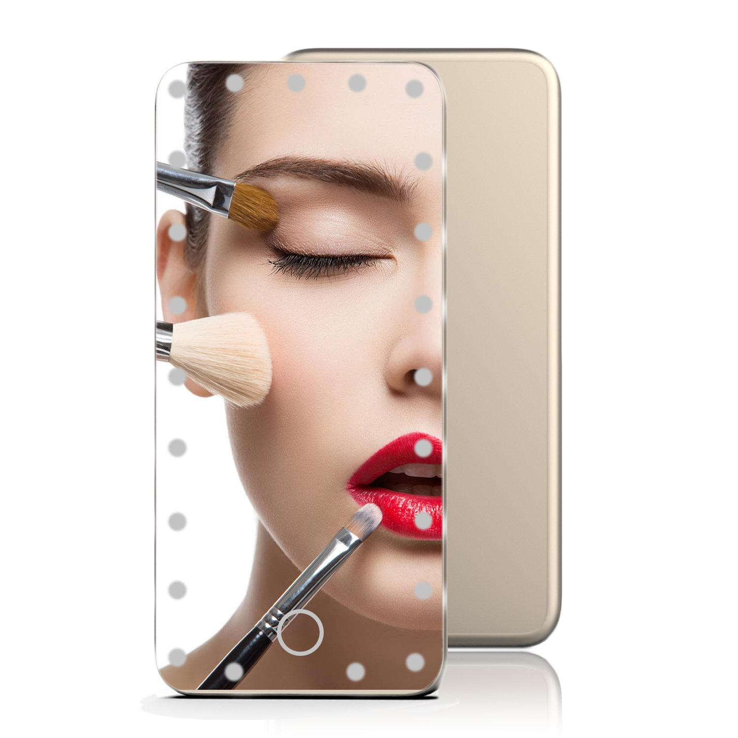 LoiZau Lighted Makeup Mirror, 23 LEDs 5.5 Inch Portable Vanity Makeup Mirror with Lights for Travel USB Charging(Champagne Gold)