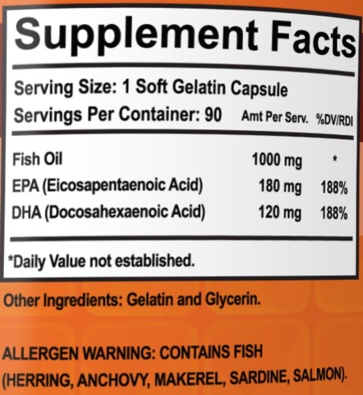 Omega-3 Fish Oil Pills - Maximum Strength EPA / DHA Omega-3 Fatty Acids 1000 mg Softgels (3)