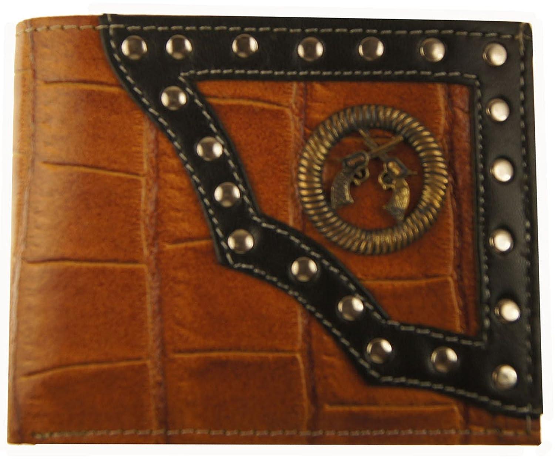 AG Wallets Leather Nocona/Ariat Crocodile Imprint Cowboy Bi-fold Wallet (dual gun)