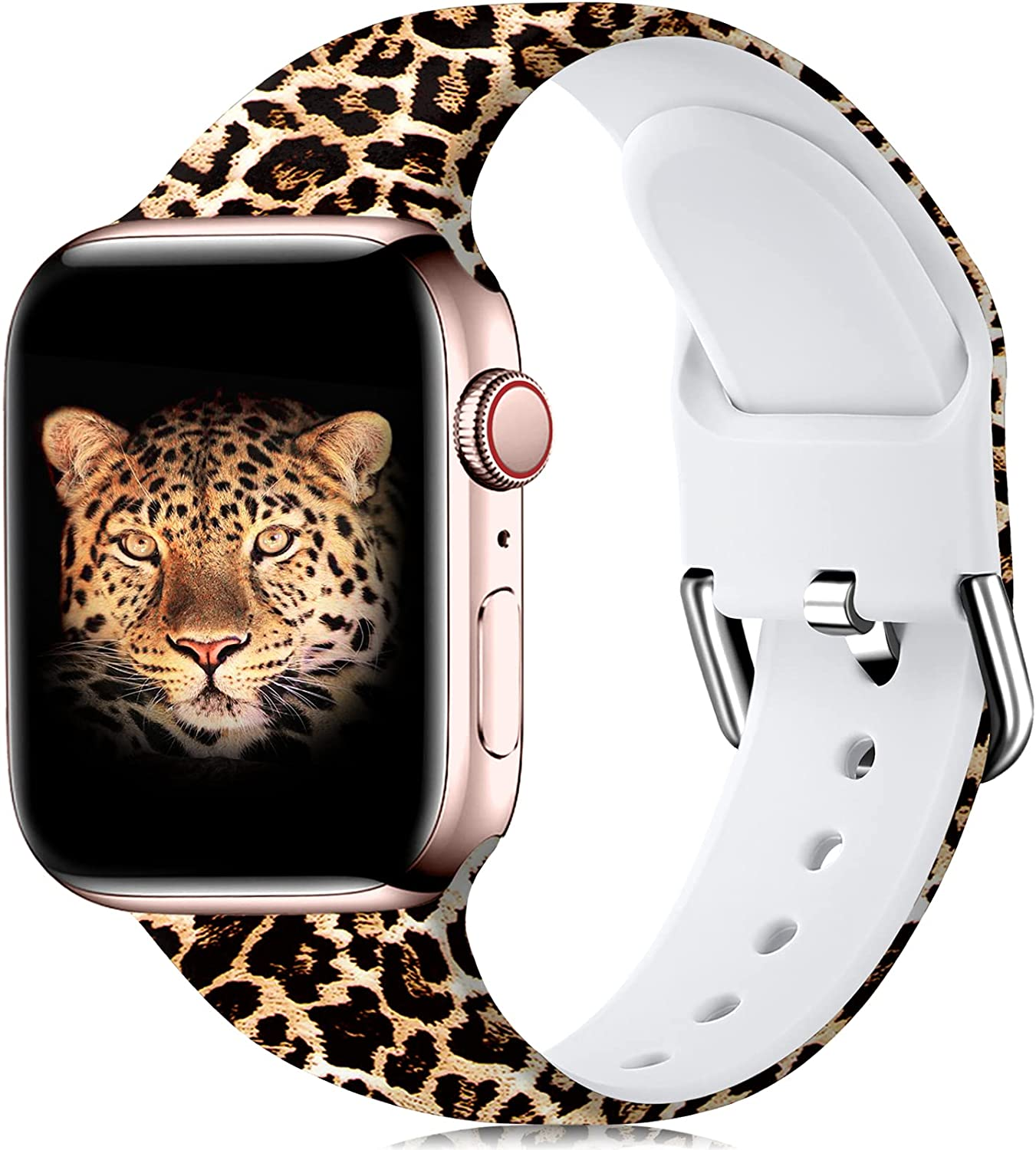 Wepro Compatible with 38mm Apple Watch Band 40mm Women iWatch SE & Series 6, Series 3, Series 5 4 2 1, Fadeless Floral Pattern Printed Silicone Wrist Bands Replacement, Leopard, S/M
