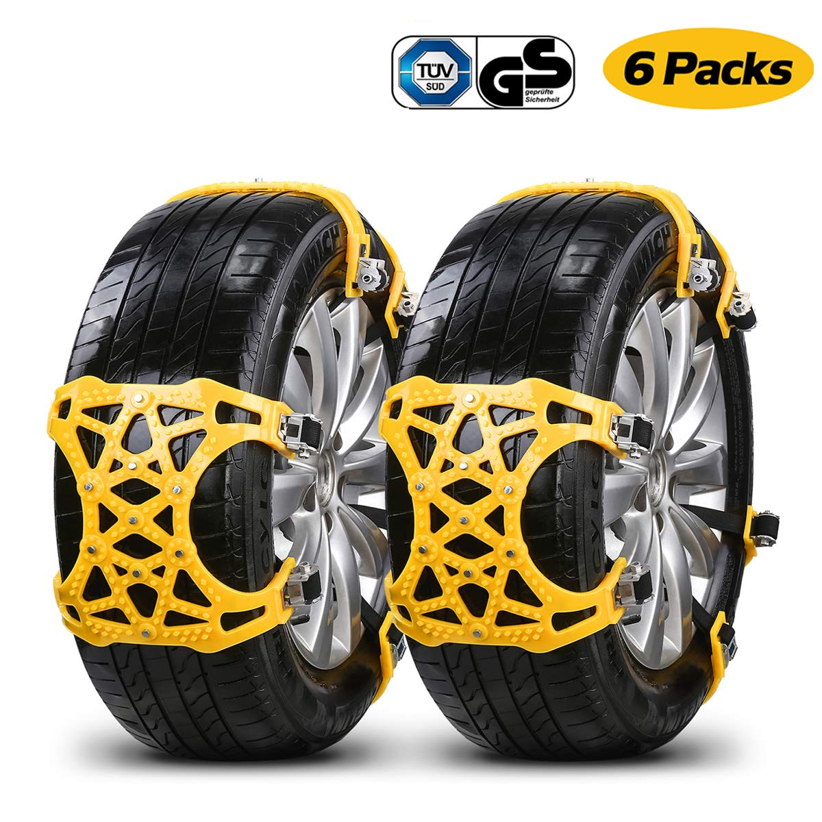 Sotical Snow Chain, 8pcs Anti-skid Adjustable Tire Wheel Emergency Solution Traction Chains Fits Chains for Car, Truck, Suv Roadway Snow Road Auto Safety Mud Outdoor Autocross Climbing Width 165-265mm zhuosilang