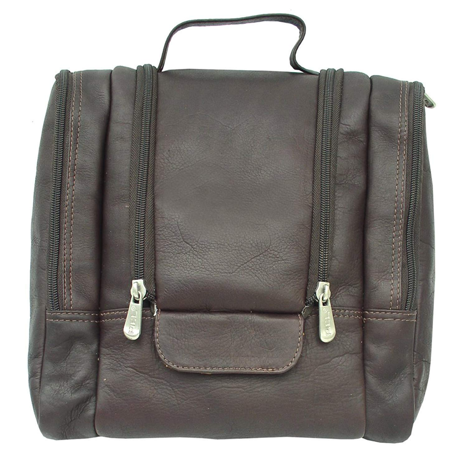 Piel Custom Personalized Leather Hanging Toiletry Kit in Chocolate