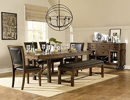Rustic Turnbuckle Dining Table Set in Burnished Oak (Dining Table & 6 Chairs)