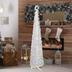 Indoor Christmas Tree Decorations, 5ft Vintage Cute Skinny Small Pop up Xmas Tree Decor for The Home Bedrooms Office(Multicolor)
