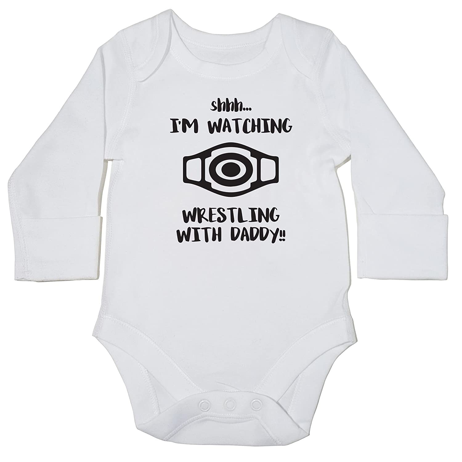 923521b92 Hippowarehouse Shhh. I'm Watching Wrestling with Daddy!! Baby Vest Bodysuit  (Long Sleeve) Boys Girls: Amazon.co.uk: Clothing