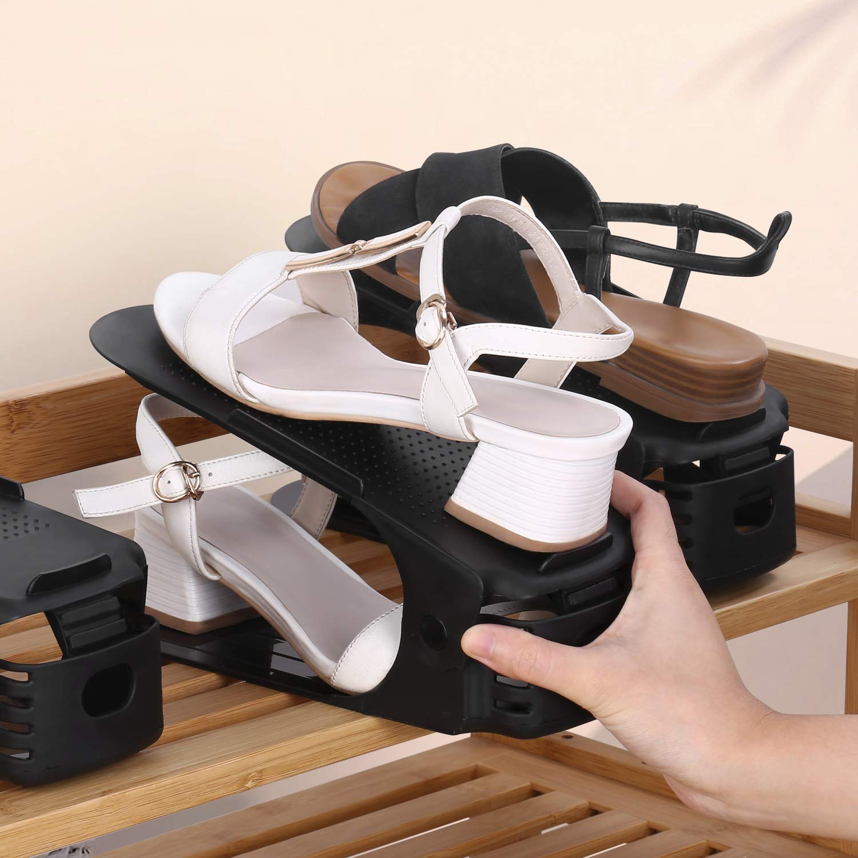 amzdeal 10pcs Organizadores de Zapatos Ajustables Soportes de Calzado con Ranuras Ahorra 50/% de Espacio PP de Buen Calidad 3 Niveles Altura para Calzado Deportivo Tacones Altos Zapatos planos