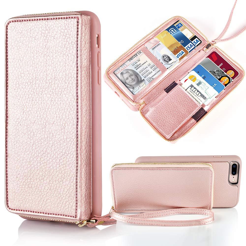 Amazon.com: JLFCH iPhone 8 Plus Wallet Case 5.5 inch, iPhone ...
