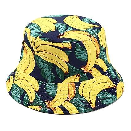 d5b5e15e21e Joylife Fruit Print Bucket Hat Banana Pattern Fisherman Hats Summer  Reversible Packable Cap (Banana Navy) at Amazon Women s Clothing store