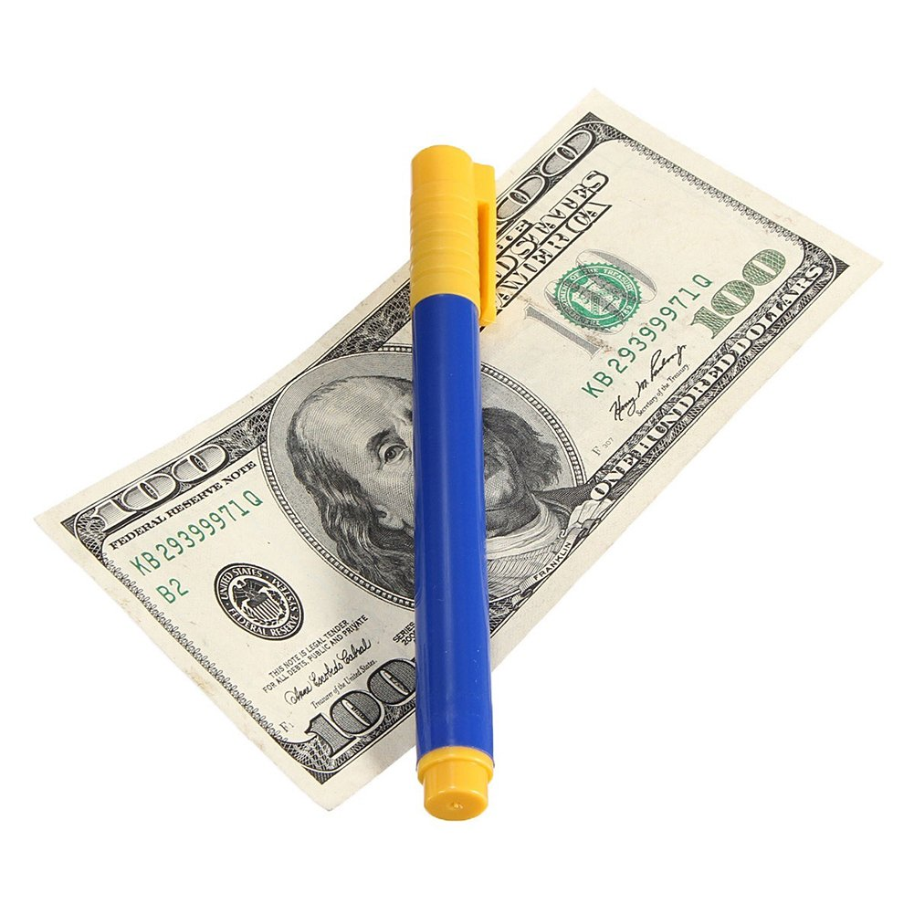 Bolígrafos detectores de dinero falsos y falsificados de alta capacidad para billetes falsos, color azul free size: Amazon.es: Oficina y papelería