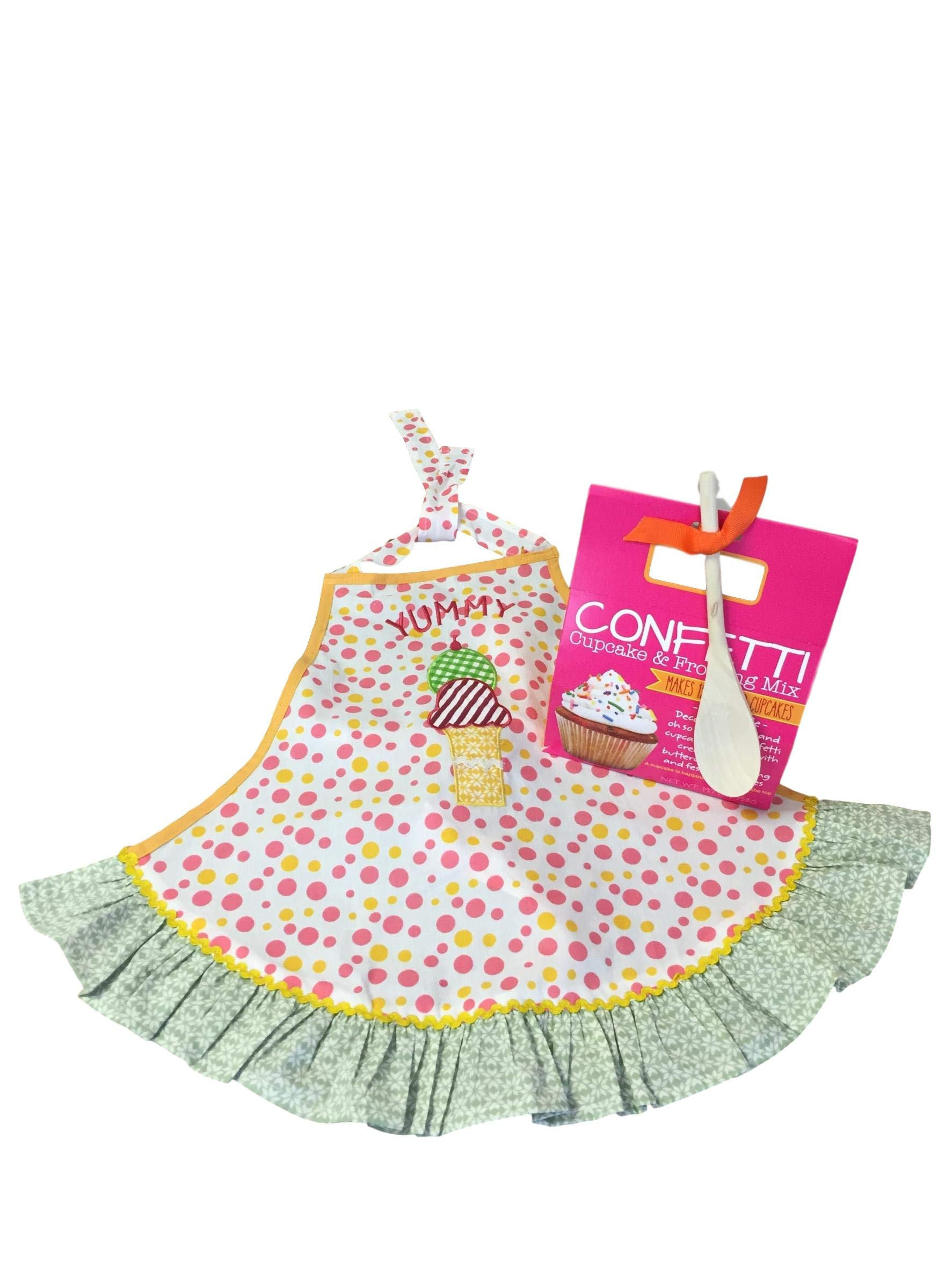 Baking Bundle with Girl's 'Yummy' Apron and Confetti Cupcake & Frosting Kit