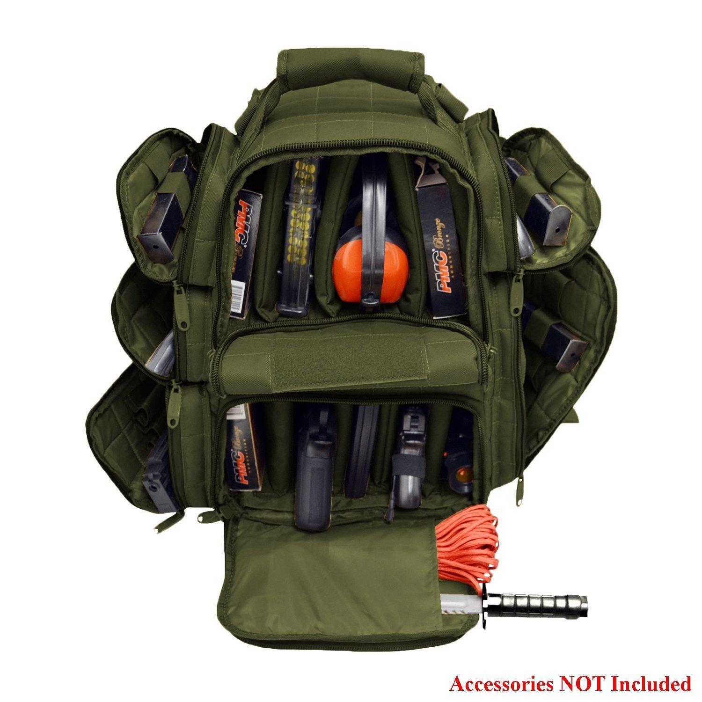 EXPLORER Backpack + Range Bag with Large Padded Deluxe Tactical Divider and 9 Clip Mag Holder - Rangemaster Gear Bag (Green Olive Drab) by EXPLORER