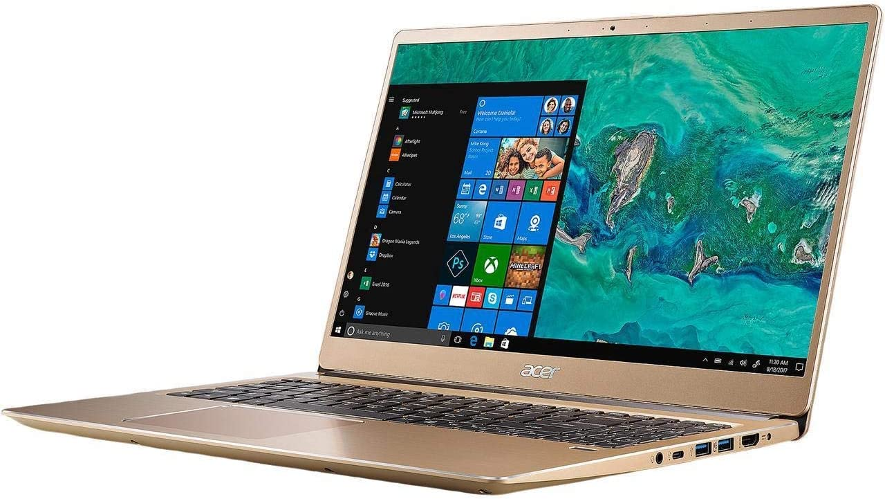 "Acer Swift 3 SF315 Laptop: Core i7-8550U, 256GB SSD, 8GB RAM, 15.6"" Full HD IPS Display, Windows 10 (Luxury Gold) (Renewed)"