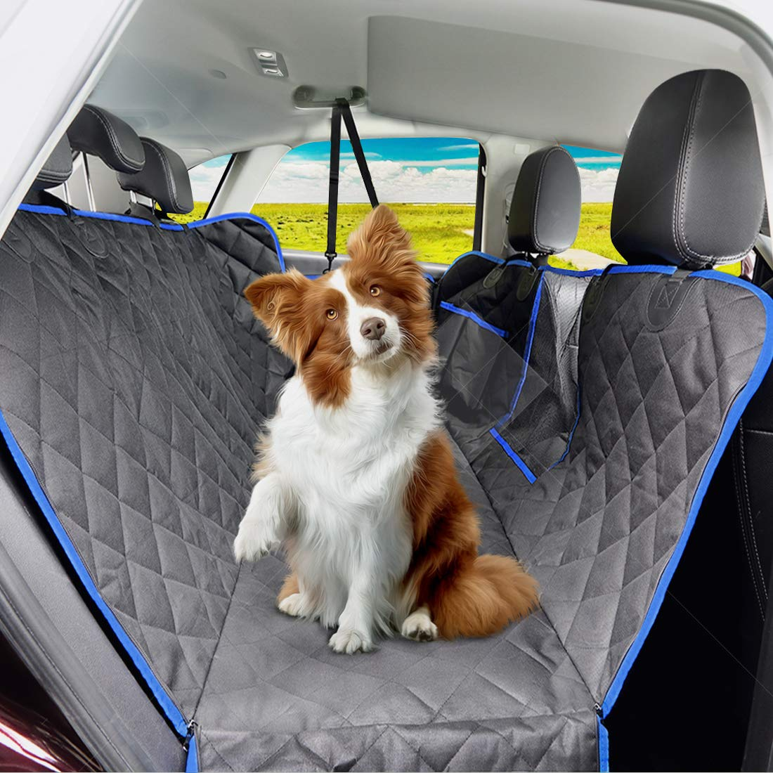 SUPSOO Dog Car Seat Cover Waterproof Durable Anti-Scratch Nonslip Back Seat Pet Protection Dog Travel Hammock with Mesh Window and Side Flaps for Cars/Trucks/SUV by SUPSOO (Image #8)