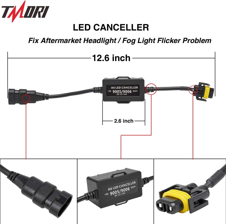 2Pcs 9005 9006 Anti Flicker Harness 1 Pair Led Headlight Bulb Decoder Error Free Resistor Wiring Canbus Kit Canceller Resistor Decoders Adapter Flash Warning Capacitor
