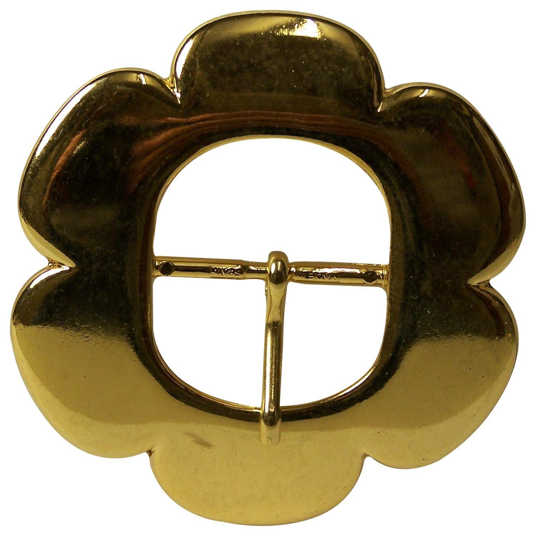 FRONHOFER Belt buckle, gold flower, center bar buckle for women, 1.8'/4.5cm 1.8' /4.5cm Size:One Size Color:Gold