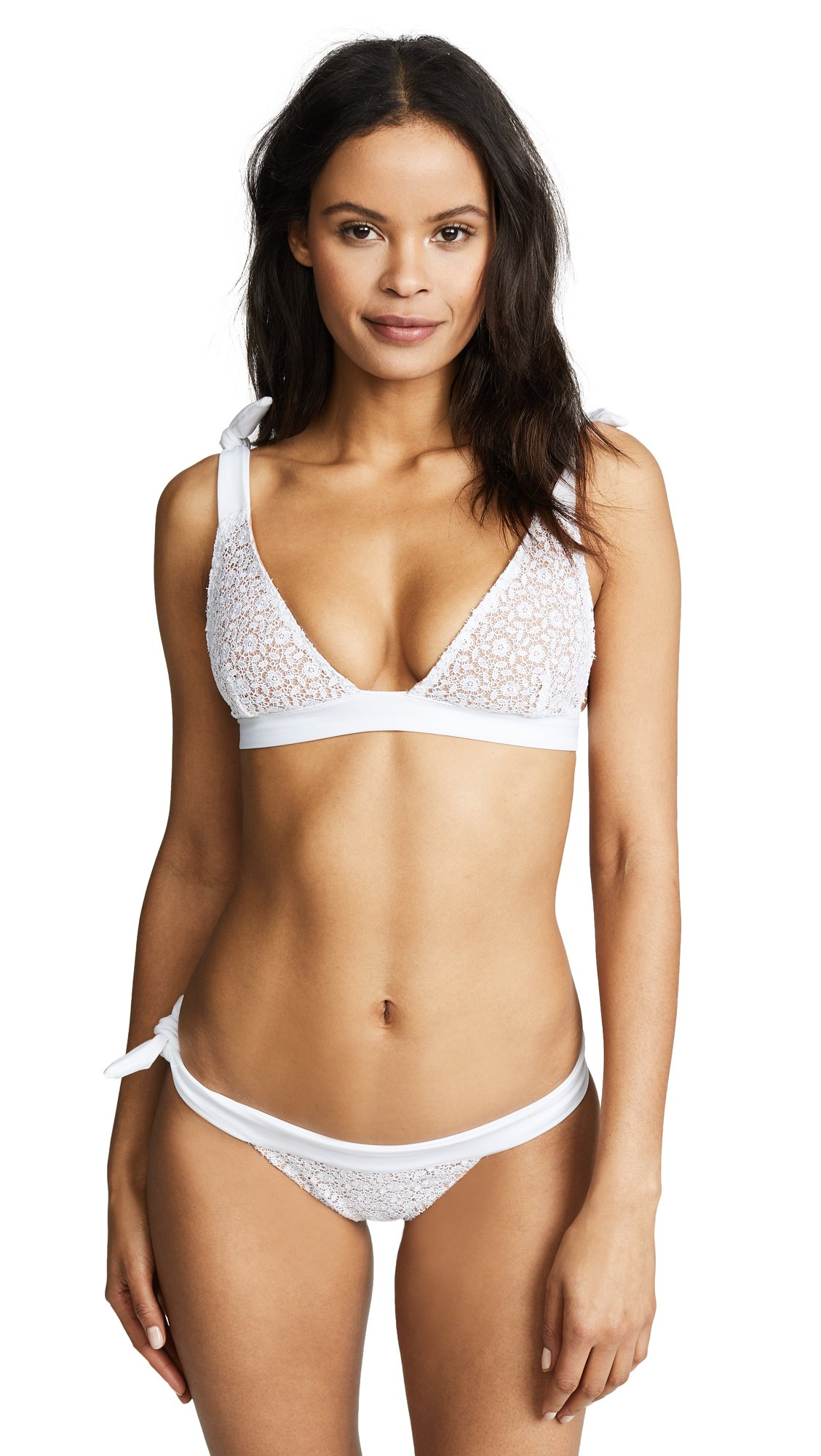 For Love & Lemons Women's Daquiri Lace Bikini Top, White Lace, X-Small