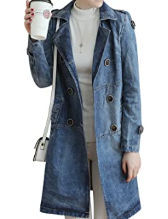 4dc5235c20d8e Amazon.com  Gihuo Women s Distressed Mid Long Lapel Denim Coat ...
