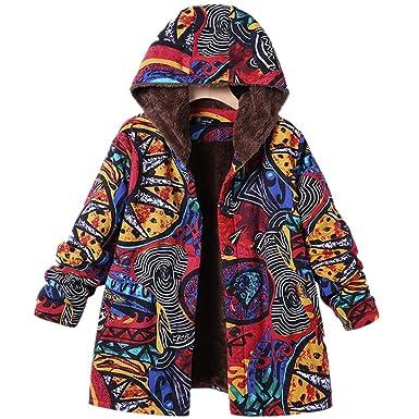 Damen Herbst Winter Jacke Parka Mäntel Steppjacke Übergangsjacke mit Kapuze  Hoodie Warm gefüttert Vintage Fleece Dicke ec4623d68a