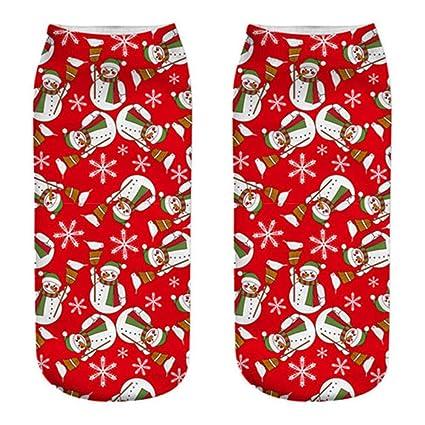 FHCGWZ 5 unids/Set Calcetines de Navidad Mujer Calcetines 3D Regalo de Año Nuevo Kawaii