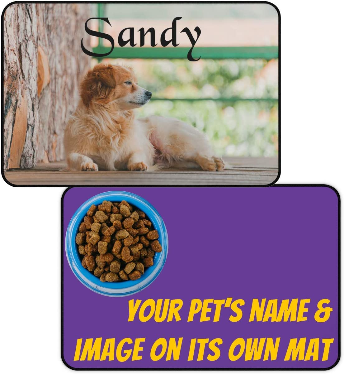 Custom Large Dog Food Mats - Add Photo, Picture and Pet's Name - Personalized Food and Water Bowl Placemat for Dogs, Cats