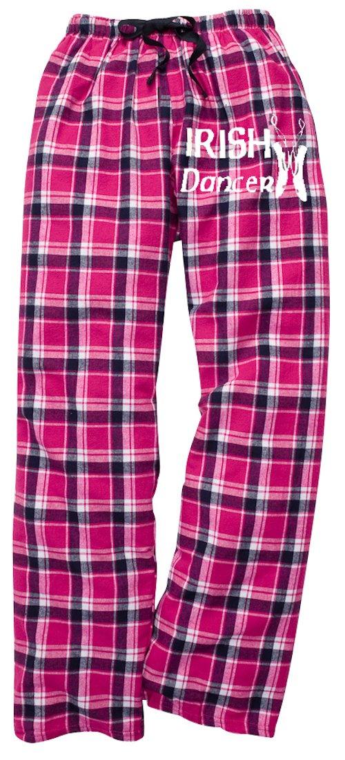 Fishers Sportswear Irish Dance Classic Shoes Print Flannel Pants (Youth Medium, Pink)