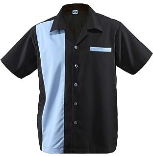 3fcd19b27f690a Herren Bowling Shirt Worker Hemd Rockabilly Two Tone Gabardine Lounge  Fifties Vintage Retro Double Panel D660
