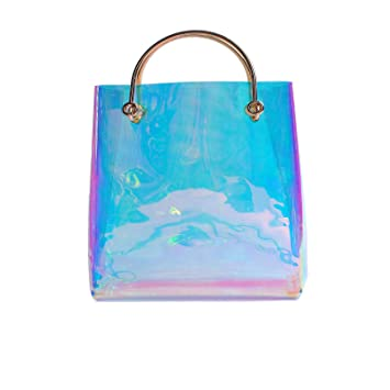 12b423734629 Amazon.com  PVC Clear Large Tote Bags Hologram The Hardware Handle Shopper  Traveller Clutch Purse for Women 2   Andear