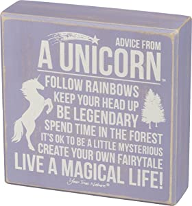Primitives by Kathy Distressed Lavender and White Box Sign, Advice from A Unicorn