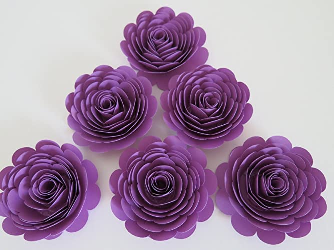 purple roses 3 paper flowers set of 6 wedding flowers bridal shower