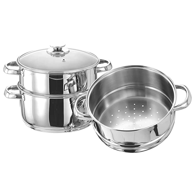 Vinod Stainless Steel 3 Tier Steamer with Glass Lid  20 cm  Induction Friendly  Steamers   Idli Makers