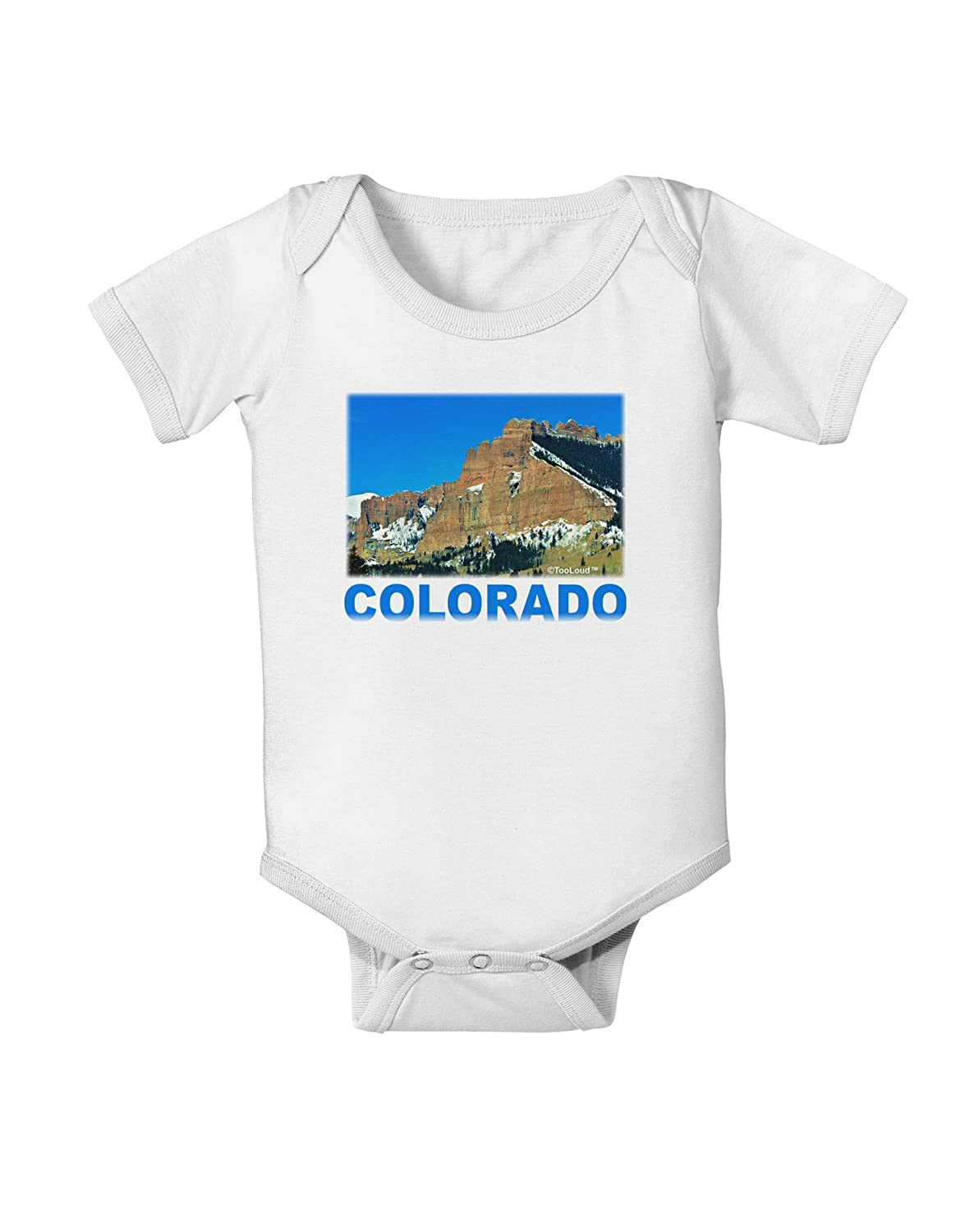 TooLoud Colorado Snowy Mountains Text Baby Romper Bodysuit