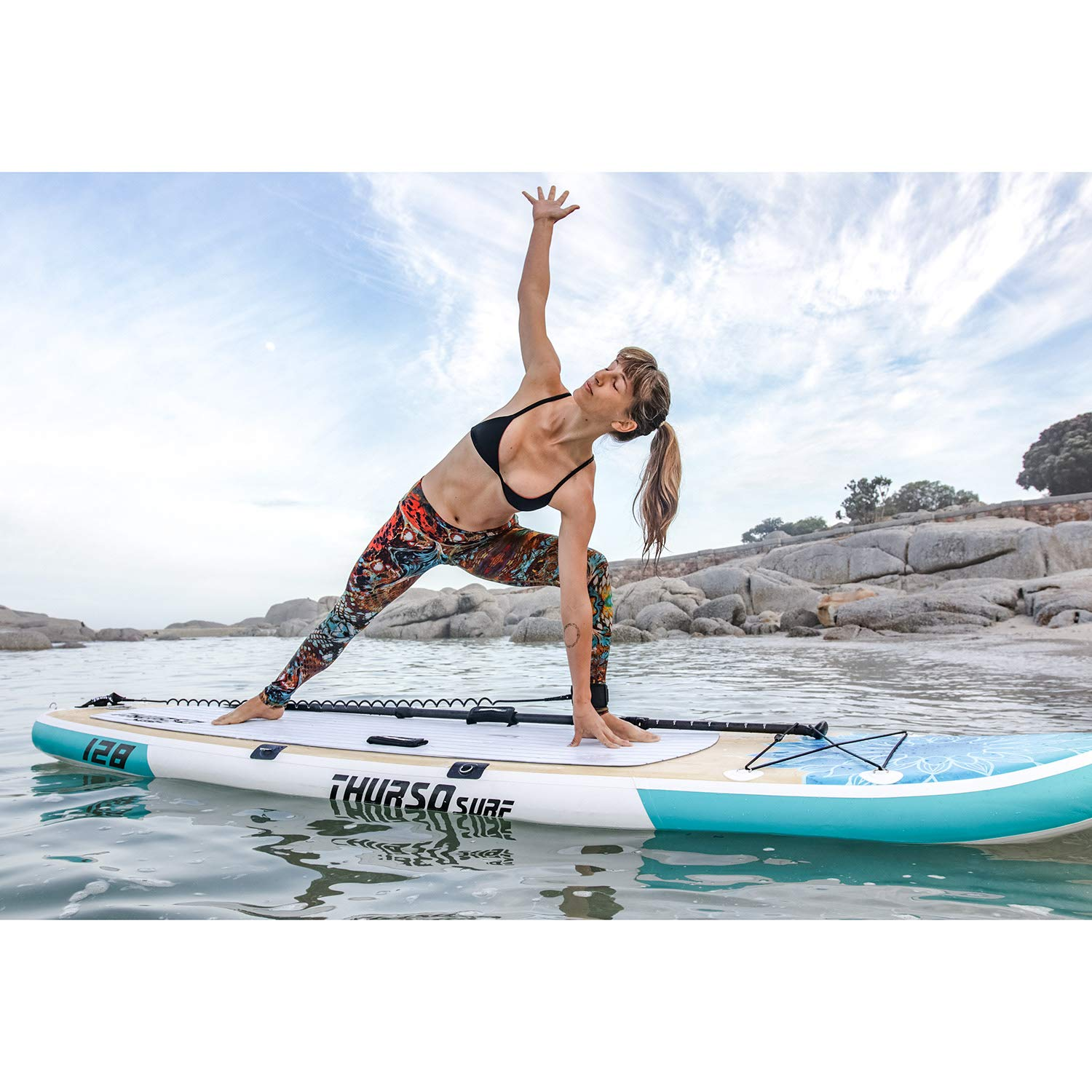 THURSO SURF Tranquility Yoga Inflatable Stand Up Paddle Board SUP 108 x 34 x 6 Two Layer Deluxe Package Includes Carbon Shaft Paddle/2+1 Quick ...