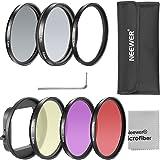 Neewer® Kit de Filtre 52mm pour GoPro Héro 3+/4 Kit Inclut 6 Pièces de Filtres (UV + CPL +FLD+ ND4+ Rouge + Jaune) + 1*Chiffon de Nettoyage en Microfibre + 1*Sac de Transport pour Filtre