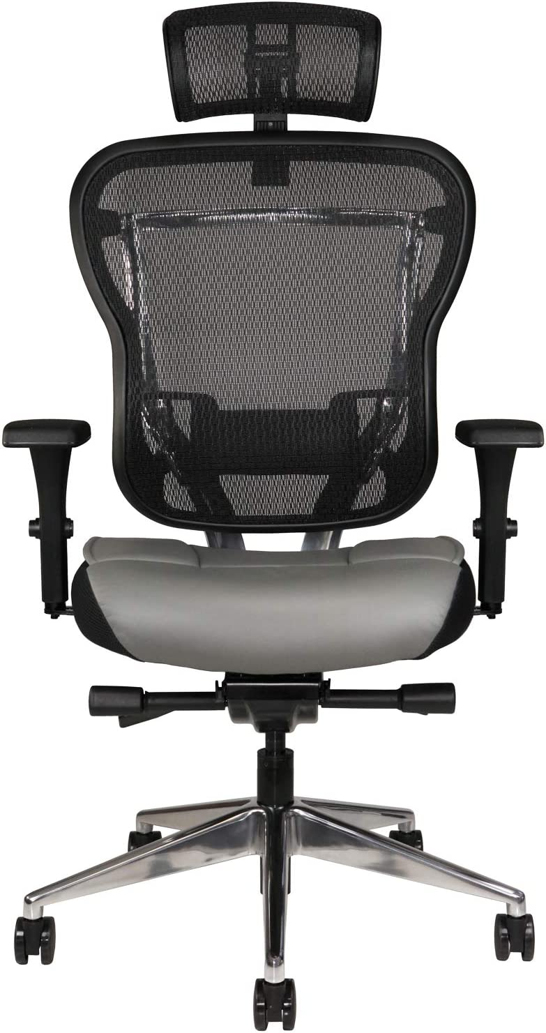 Amazon Com Oak Hollow Furniture Aloria Series Office Chair Ergonomic Executive Computer Chair With Headrest Genuine Leather Seat Cushion Mesh Back Adjustable Lumbar Support Swivel And Tilt High Back Gray Kitchen Dining
