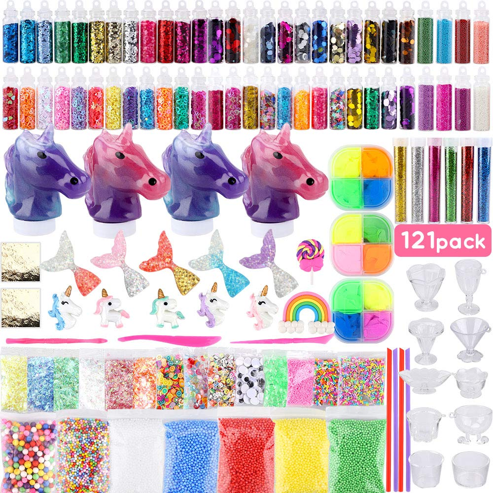 Habbi 121pcs Slime Supplies for Kids Unicorn Slime Making Kits for Girls Boys DIY Slime Kit with Fluffy Slime Putty, Unicorn Slime, Charms, Slime Containers, Floam Beads, Slime Accessories