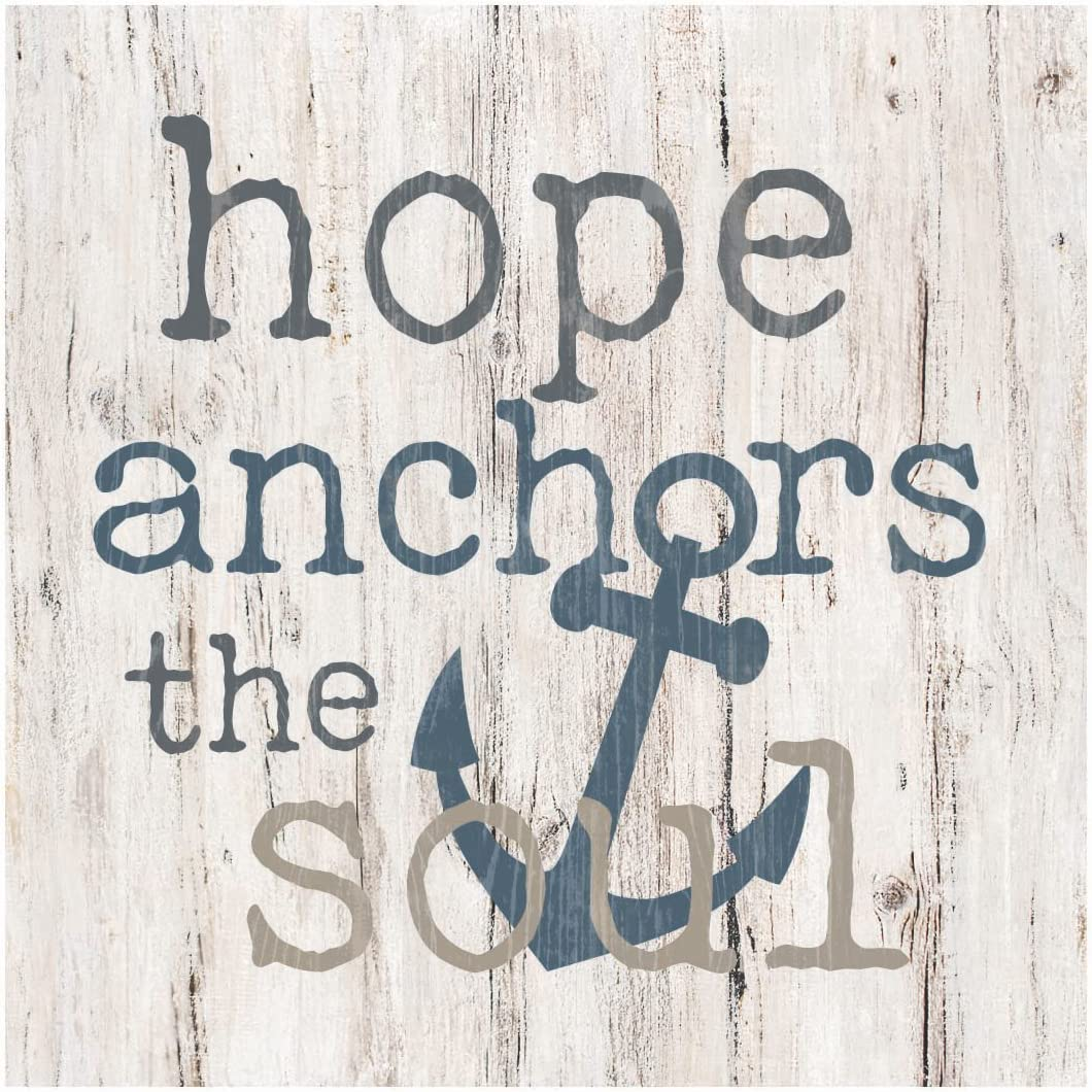 P. Graham Dunn Hope Anchors The Soul Whitewash 3.5 x 3.5 Inch Pine Wood Tabletop Block Sign