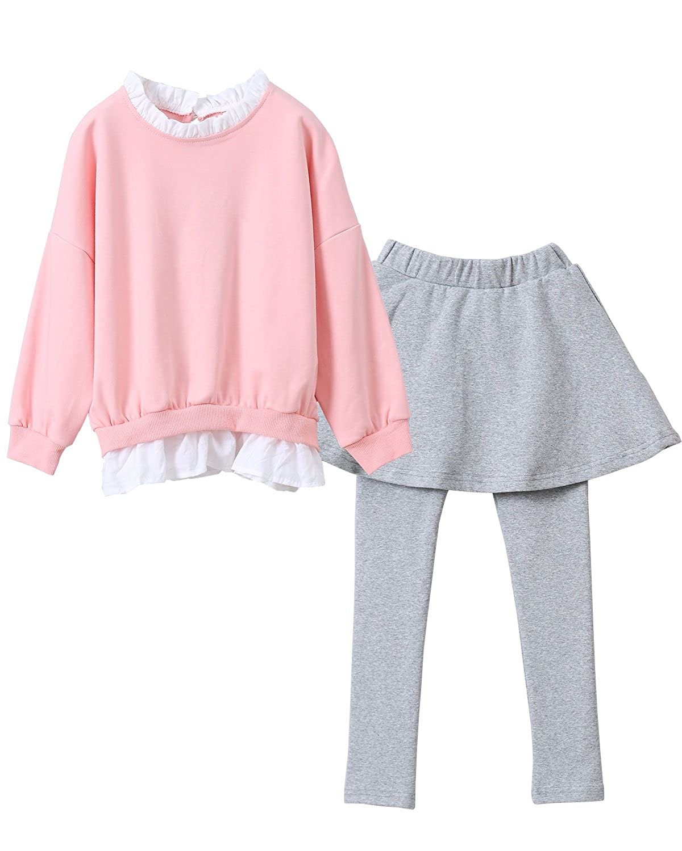 Little Girls Long Sleeve Tops Leggings Pants 2PCS Outfit Sets Winter Clothes