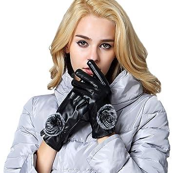 229c67ecf38b2 eizur Écran tactile Gants pour femme en cuir PU Gants d'hiver chaud gants  gants