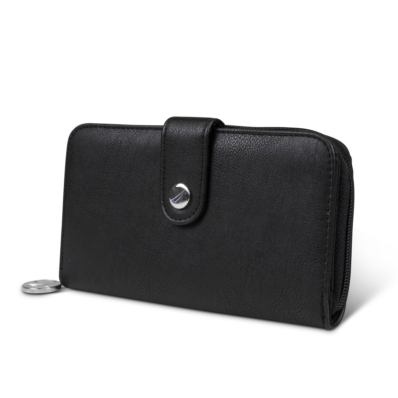Nautica Be Shore Womens Wallet RFID Blocking Zip Around Clutch (Black (Buff)) by Nautica