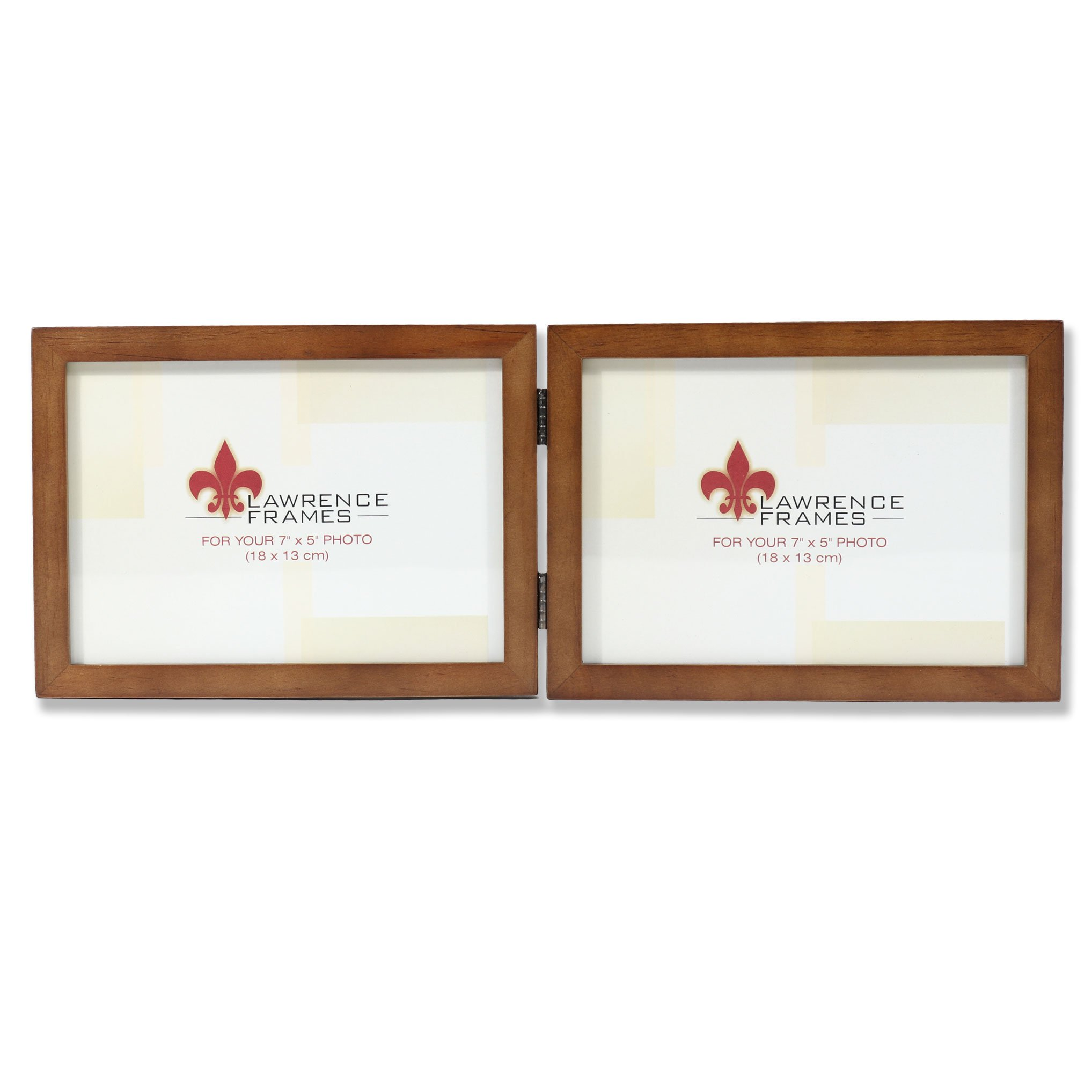 Lawrence Frames 766075D Nutmeg Wood Hinged Double Picture Frame, 7 by 5-Inch