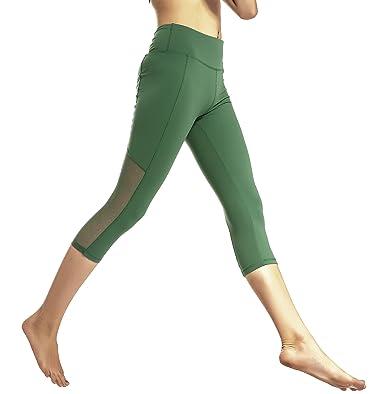 a577f1bff8 Running Girl Women's Slimming Yoga Capris - SOFT MESH DOT PANELS - Gym  Fitness Leggings Wide