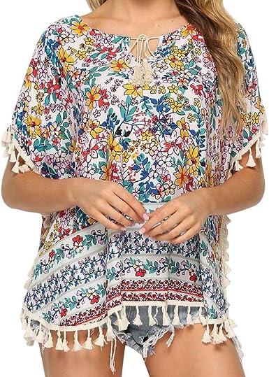 UNSHOU Camisa Bohemia Mexicana de algodón con Flecos para ...