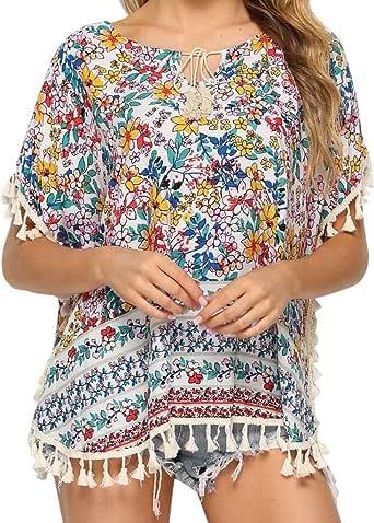 UNSHOU Camisa Bohemia Mexicana de algodón con Flecos para Mujer - Blanco - XX-Large: Amazon.es: Ropa y accesorios