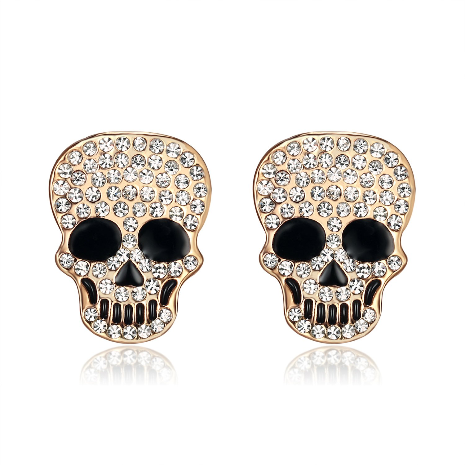 Lee Island Fashion Jewelry 18K Gold Plated White Crystal Skull Stud Earrings Jackets-Halloween Costumes for Women Girls MSRP $110