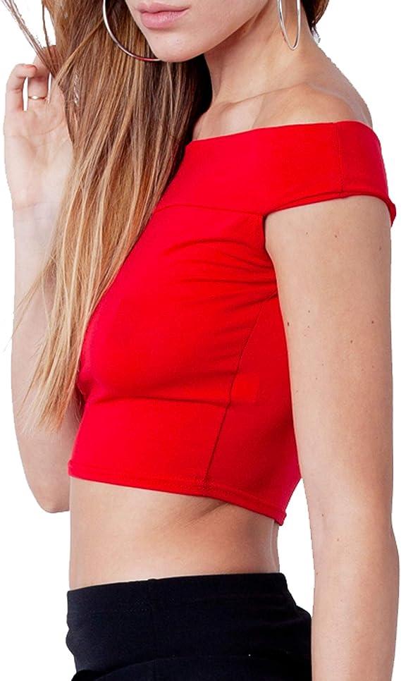 Tessuto Liscio Re Tech UK Crop Top con Spalle Scoperte e Scollo Bardot