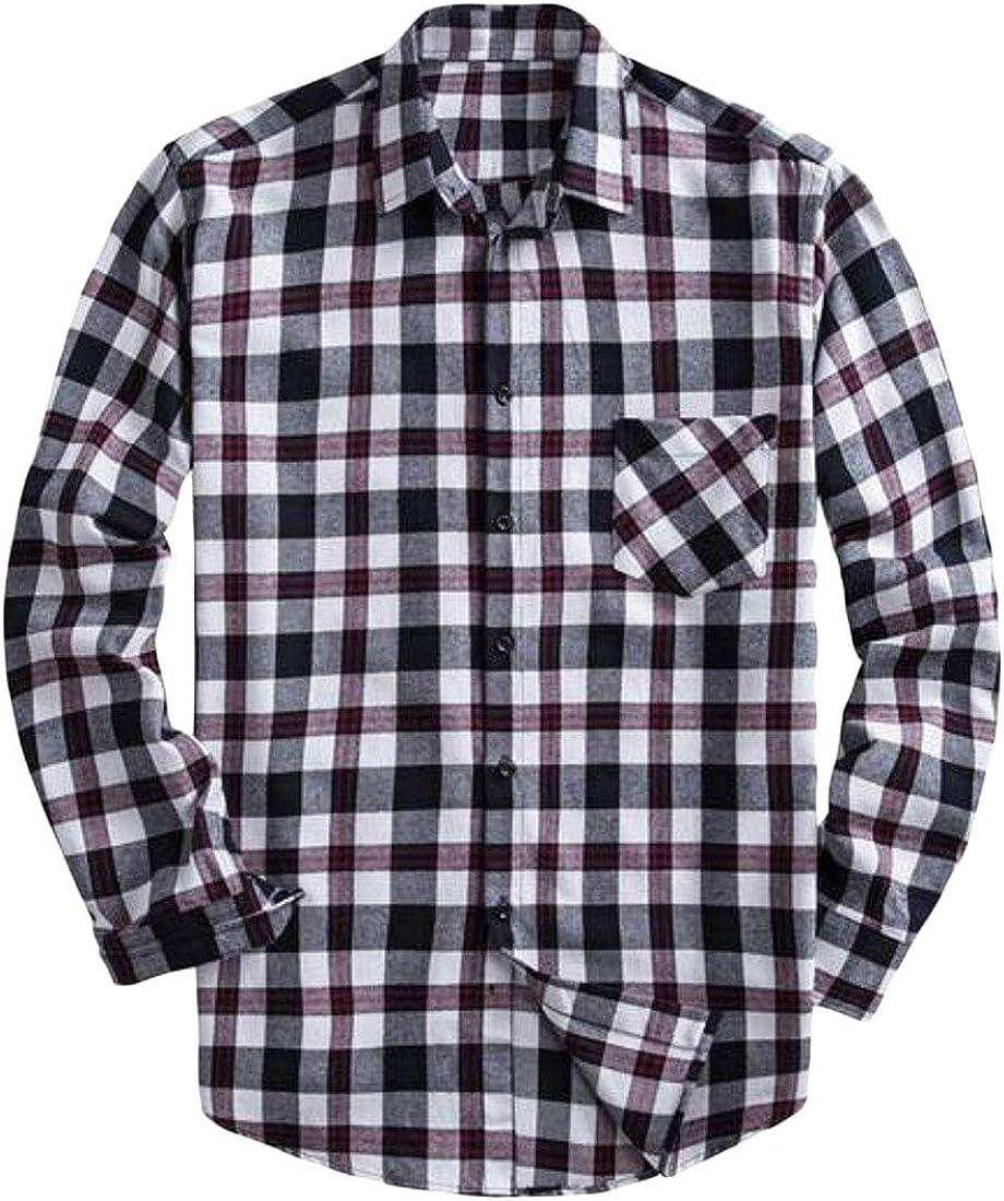 Fensajomon Men Casual Plaid Print Long Sleeve Plus Size Cotton Button Down Dress Checkered Shirt